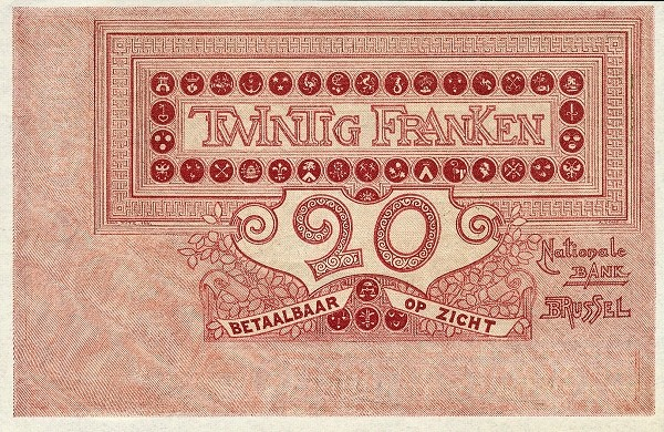 Belgium 20 Francs (1905-1926  Banque Nationale)