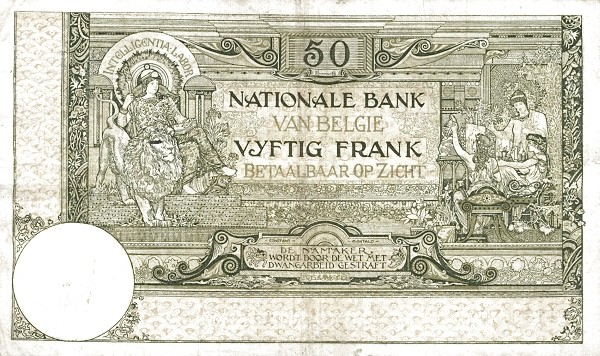 Belgium 50 Francs (1905-1926  Banque Nationale)