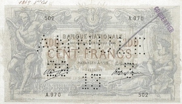 Belgium 100 Francs (1905-1926  Banque Nationale-1)