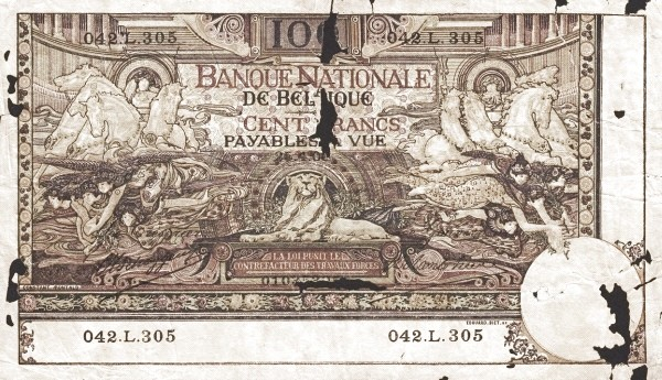 Belgium 100 Francs (1905-1926  Banque Nationale-2)
