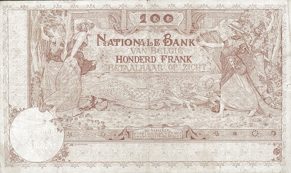 Belgium 100 Francs (1905-1926  Banque Nationale-3)