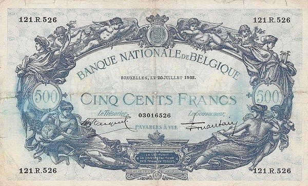 Belgium 500 Francs (1905-1926  Banque Nationale)