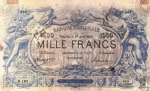 Belgium 1000 Francs (1905-1926  Banque Nationale-1)