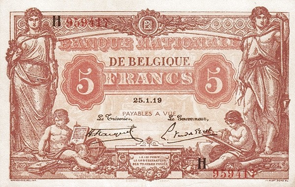 Belgium 5 Francs (1914-1921  Banque Nationale-1)