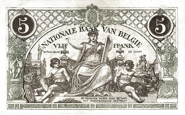 Belgium 5 Francs (1914-1921  Banque Nationale-2)