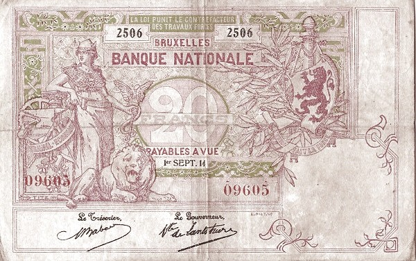 Belgium 20 Francs (1914-1921  Banque Nationale)