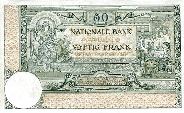 Belgium 50 Francs (1914-1921  Banque Nationale)