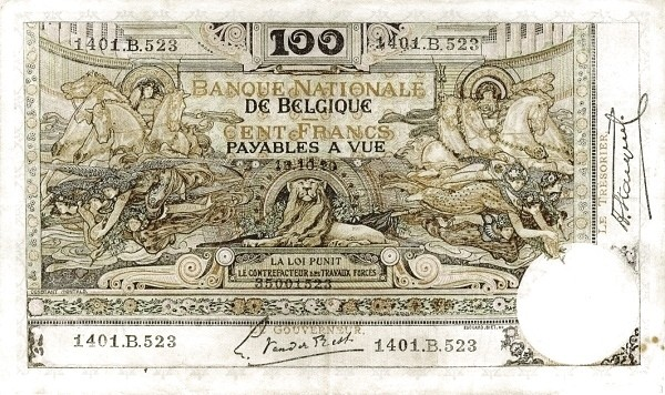Belgium 100 Francs (1914-1921  Banque Nationale)
