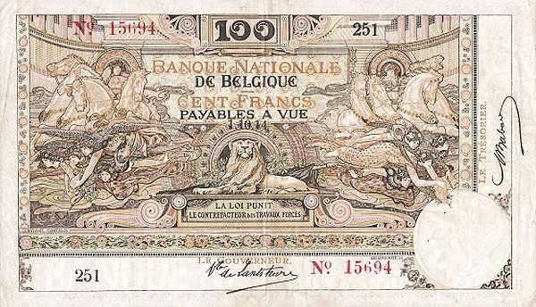 Belgium 100 Francs (1914-1921  Banque Nationale-2)