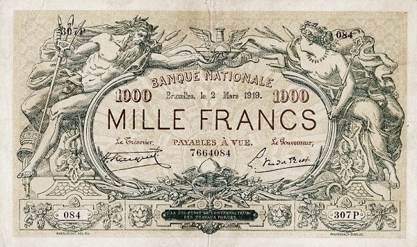 Belgium 1000 Francs (1914-1921  Banque Nationale)