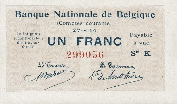 "Belgium 1 Franc (1914 ""Comptes Courants""-Banque Nationale)"