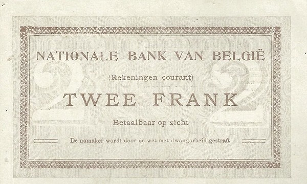 "Belgium 2 Francs (1914 ""Comptes Courants""-Banque Nationale)"