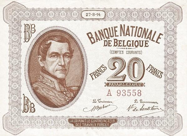 "Belgium 20 Francs (1914 ""Comptes Courants""-Banque Nationale)"