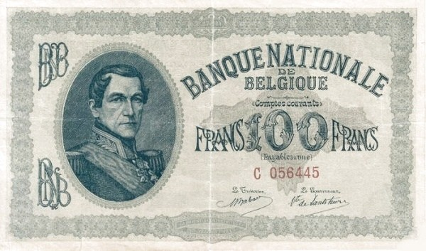 "Belgium 100 Francs (1914 ""Comptes Courants""-Banque Nationale)"
