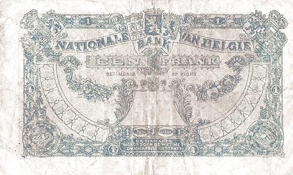 Belgium 1 Franc (1920-1927 Banque Nationale)