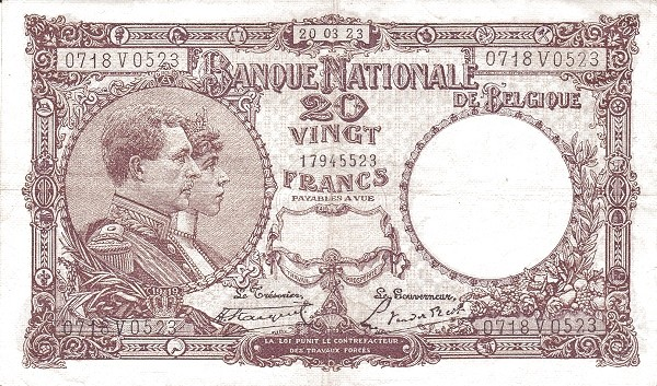 Belgium 20 Francs (1920-1927 Banque Nationale)