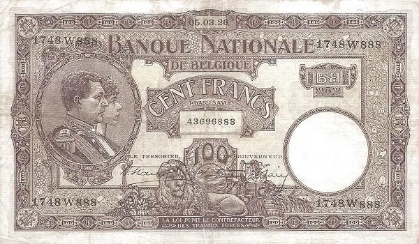 Belgium 100 Francs (1920-1927 Banque Nationale)