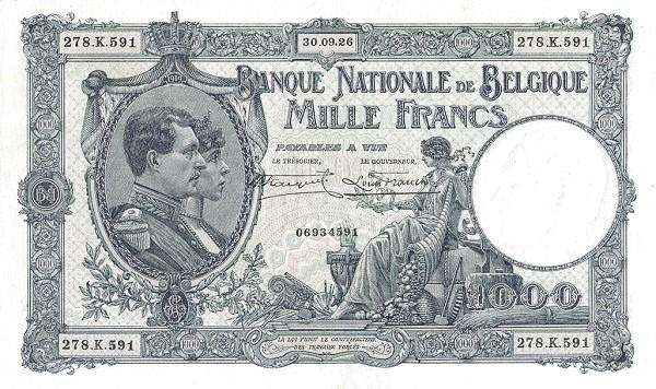 Belgium 1000 Francs (1920-1927 Banque Nationale)