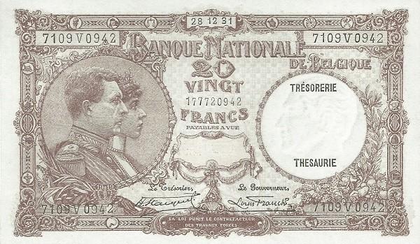 Belgium 20 Francs (1926-1940 Banque Nationale)