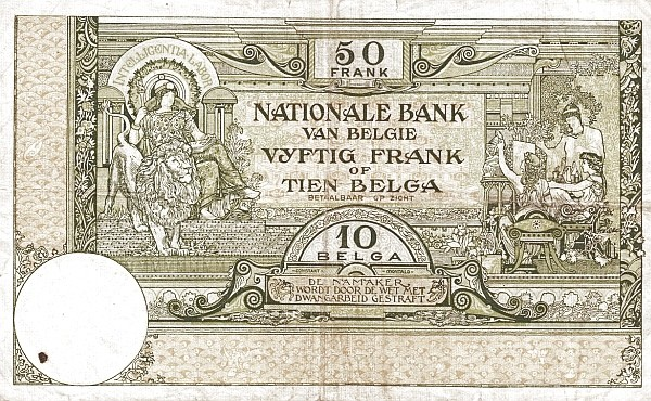 Belgium 50 Francs (1927-1942 Banque Nationale-1)