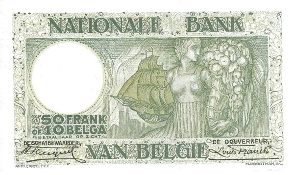 Belgium 50 Francs (1927-1942 Banque Nationale-3)