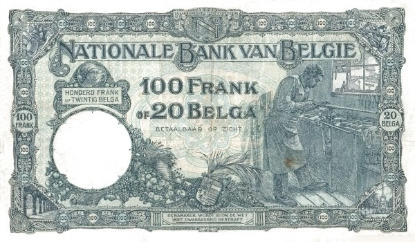Belgium 100 Francs (1927-1942 Banque Nationale)