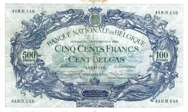 Belgium 500 Francs (1927-1942 Banque Nationale)