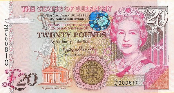 "Guernsey 20 Pounds (2018 ""100th Anniversary of The Great War"" )"