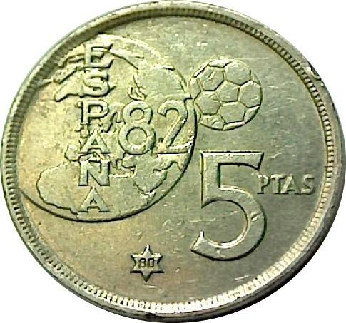 """Spain 5 Pesetas (1975 """"Error del Mundial"""")"""