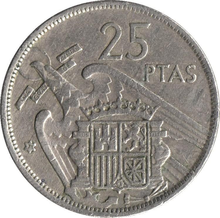 Spain 25 Pesetas (1957)