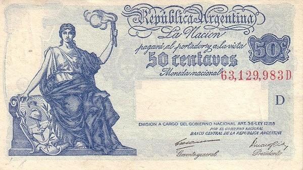 "Argentina 50 Centavos (1935-1948 ""Art. 36 - Ley 12.155"")"
