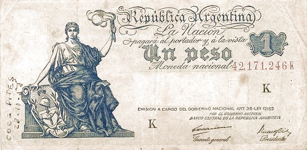 "Argentina 1 Peso (1935-1948 ""Art. 36 - Ley 12.155"")"