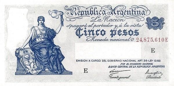 """Argentina 5 Pesos (1935-1948 """"Art. 36 - Ley 12.155"""")"""