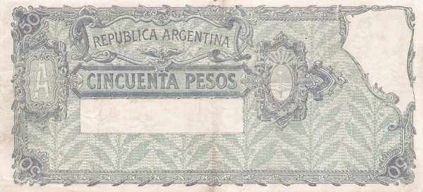 """Argentina 50 Pesos (1936-1946 """"Ley 12.155 / 28.03.1935"""")"""