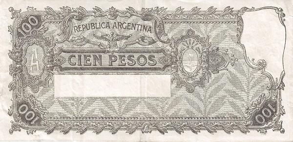 """Argentina 100 Pesos (1936-1946 """"Ley 12.155 / 28.03.1935"""")"""
