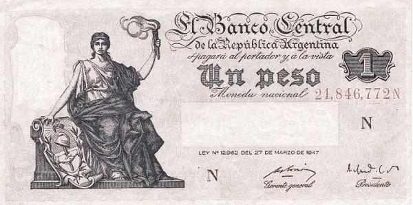 "Argentina 1 Peso (1948-1951 ""Ley 12.962 / 28.03.1947"")"
