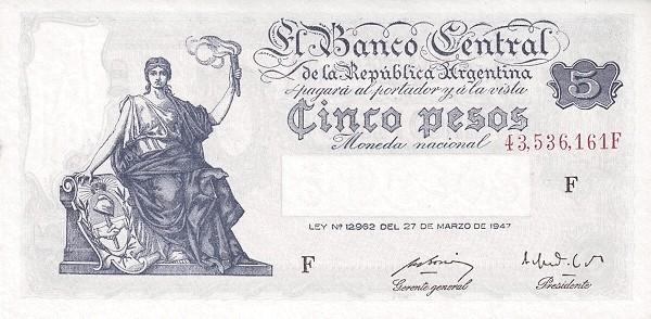 """Argentina 5 Pesos (1948-1951 """"Ley 12.962 / 28.03.1947"""")"""