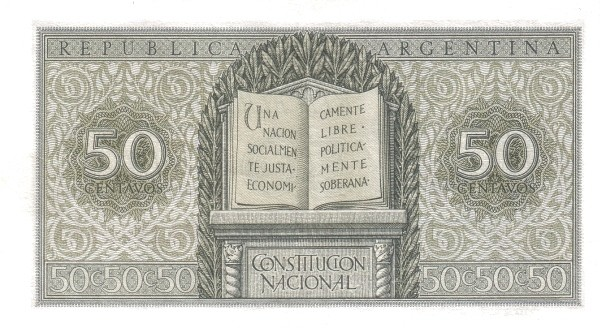 "Argentina 50 Centavos (1950-1951""Liberty - Ley 12.962 / 28.03.1947"")"