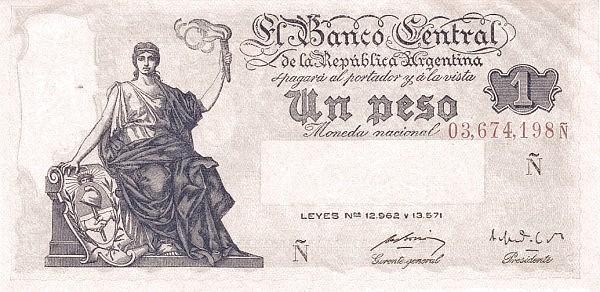 Argentina 1 Peso (1951 Leyes 12.962 & 13.571)