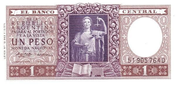 Argentina 1 Peso (1951 Leyes 12.962 & 13.571-2)