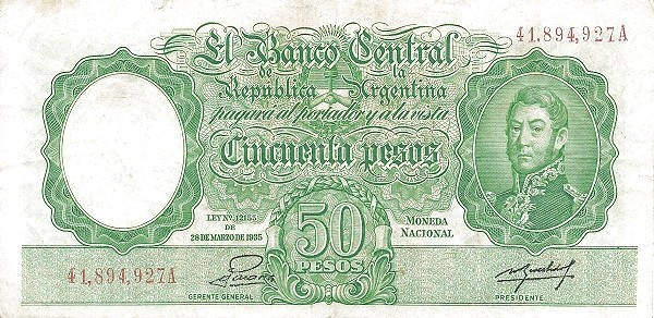 "Argentina 50 Pesos (1942-1957 ""Ley 12.155 / 28.03.1935 - San Martín"")"