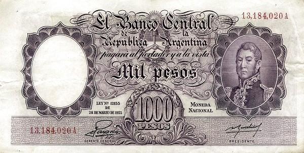 "Argentina 1000 Pesos (1942-1957 ""Ley 12.155 / 28.03.1935 - San Martín"")"