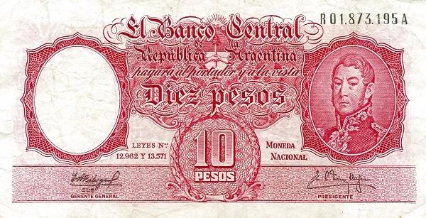 "Argentina 10 Pesos (1954-1968 ""Leyes 12.962 & 13.571 - San Martín"")"