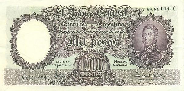 "Argentina 1000 Pesos (1954-1968 ""Leyes 12.962 & 13.571 - San Martín"")"