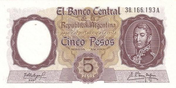 """Argentina 5 Pesos (1960-1969 """"Without Ley - San Martín"""")"""