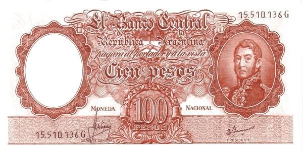 """Argentina 100 Pesos (1960-1969 """"Without Ley - San Martín"""")"""