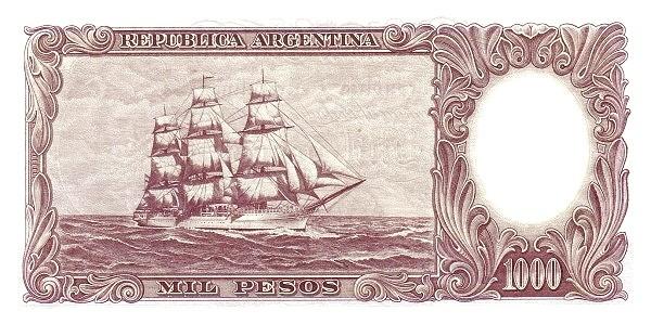 """Argentina 1000 Pesos (1960-1969 """"Without Ley - San Martín"""")"""