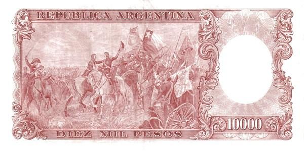 """Argentina 10000 Pesos (1960-1969 """"Without Ley - San Martín"""")"""