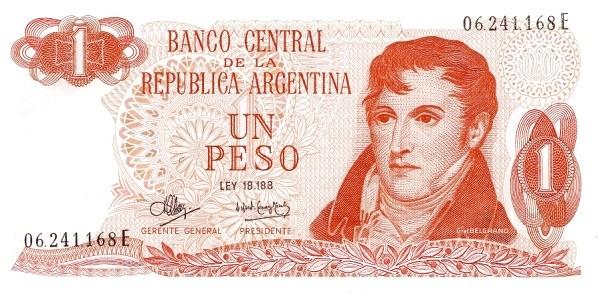 "Argentina 1 Peso (1970-1973 ""Ley 18.188"")"