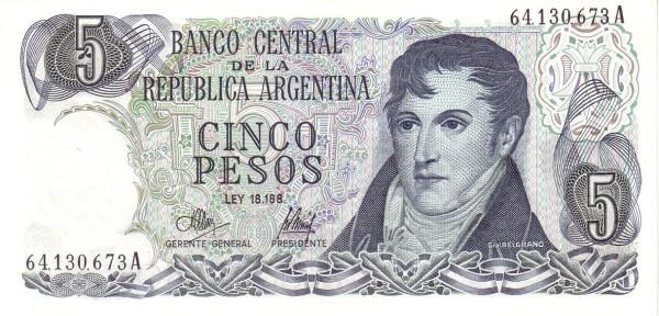 """Argentina 5 Pesos (1970-1973 """"Ley 18.188"""")"""